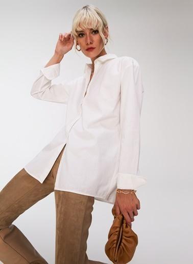 People By Fabrika Oversize Gömlek Beyaz